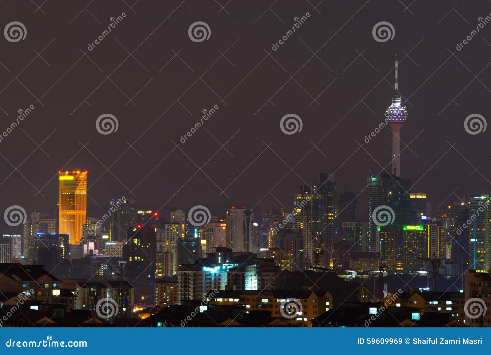 Nachtmening van Kuala Lumpur-horizon