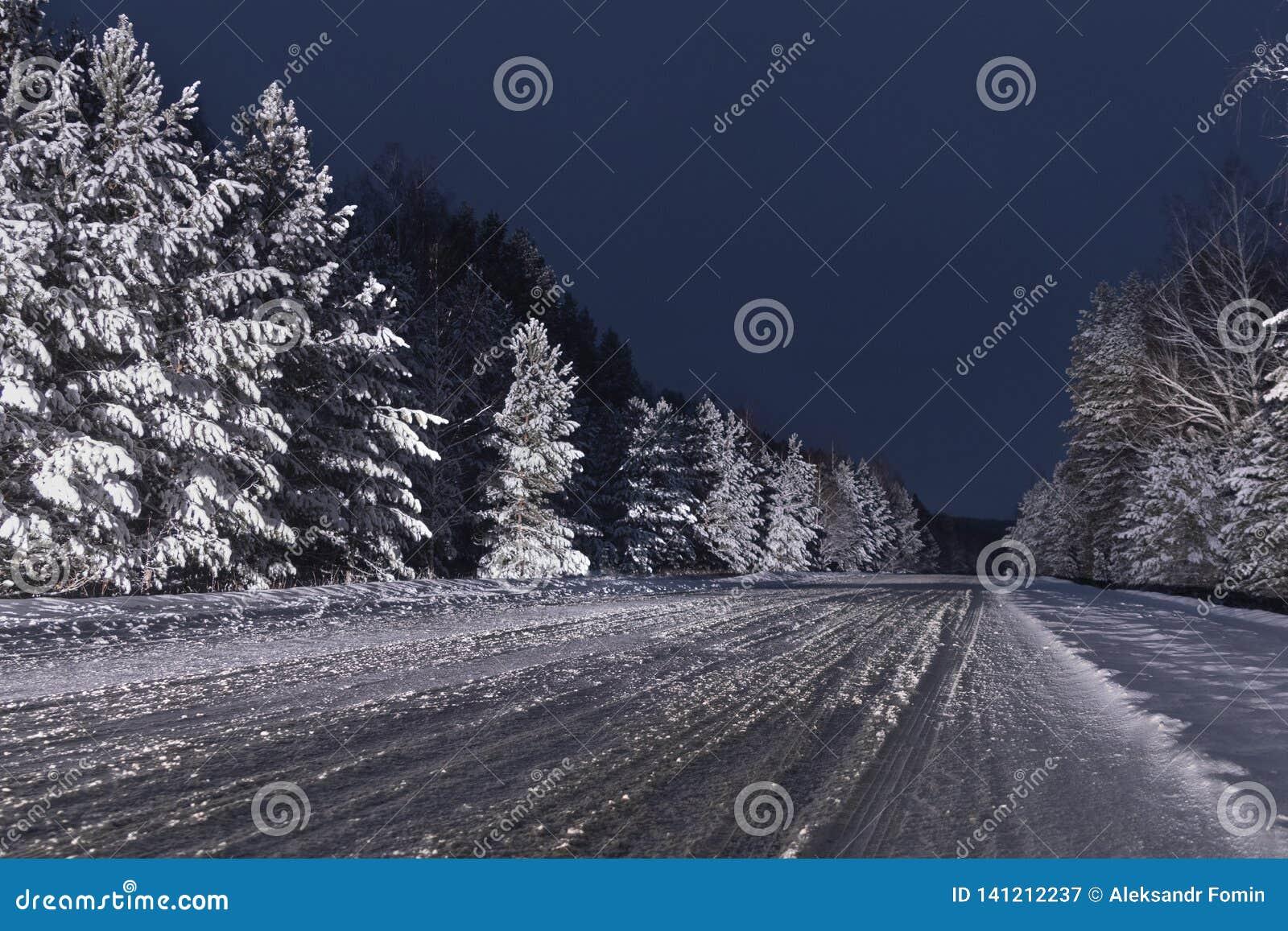 Nachtschnee bedeckte ungeschälte Straße des Winters