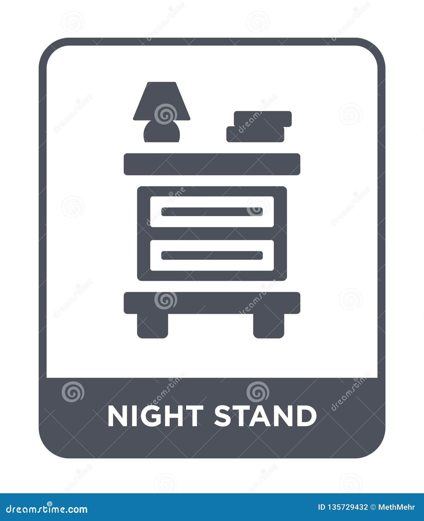 Nachtstandikone in der modischen Entwurfsart Nachtstandikone lokalisiert auf weißem Hintergrund Nachtstand-Vektorikone einfach un