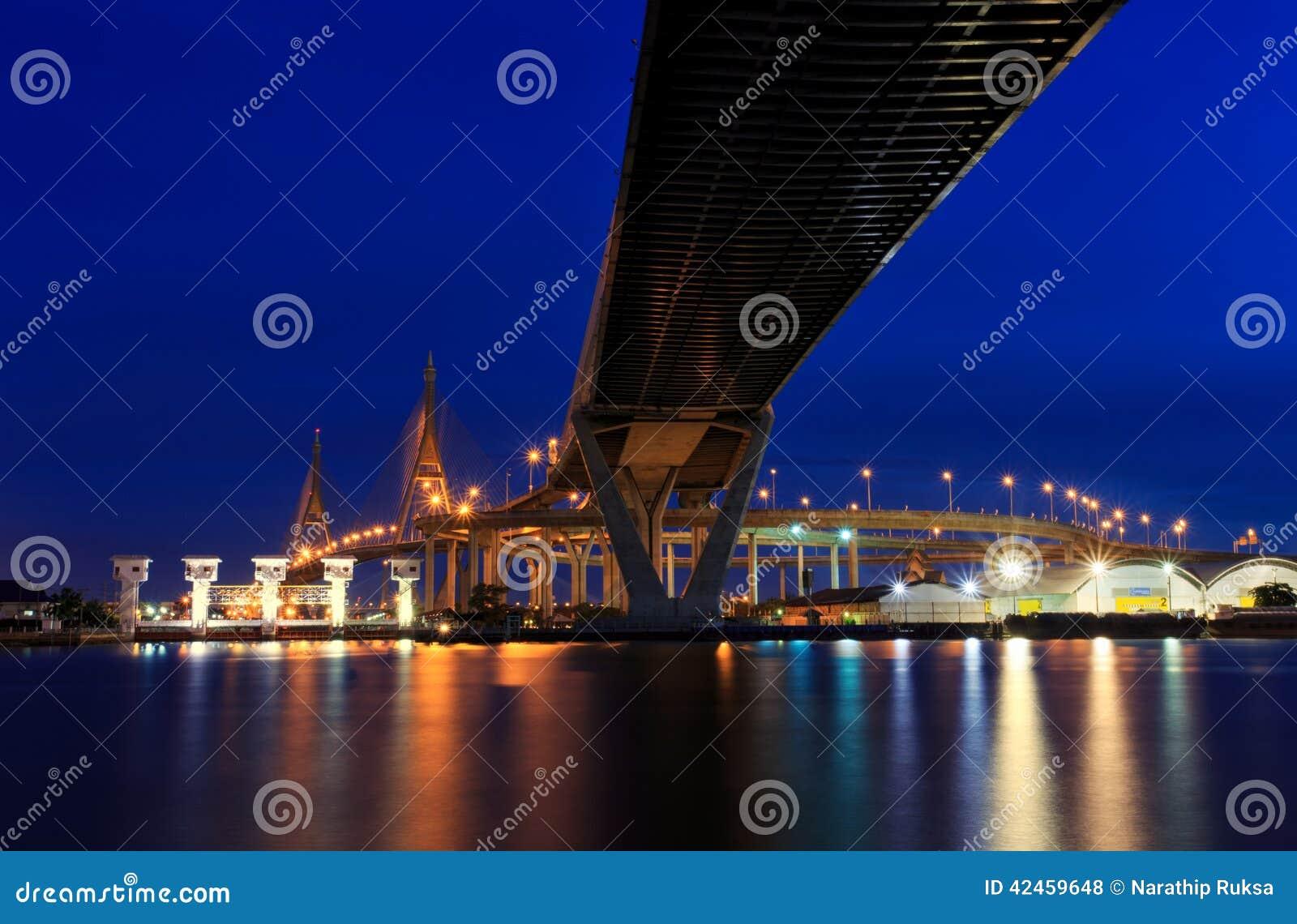 Nachtszene Bhumibol-Brücke, Bangkok, Thailand