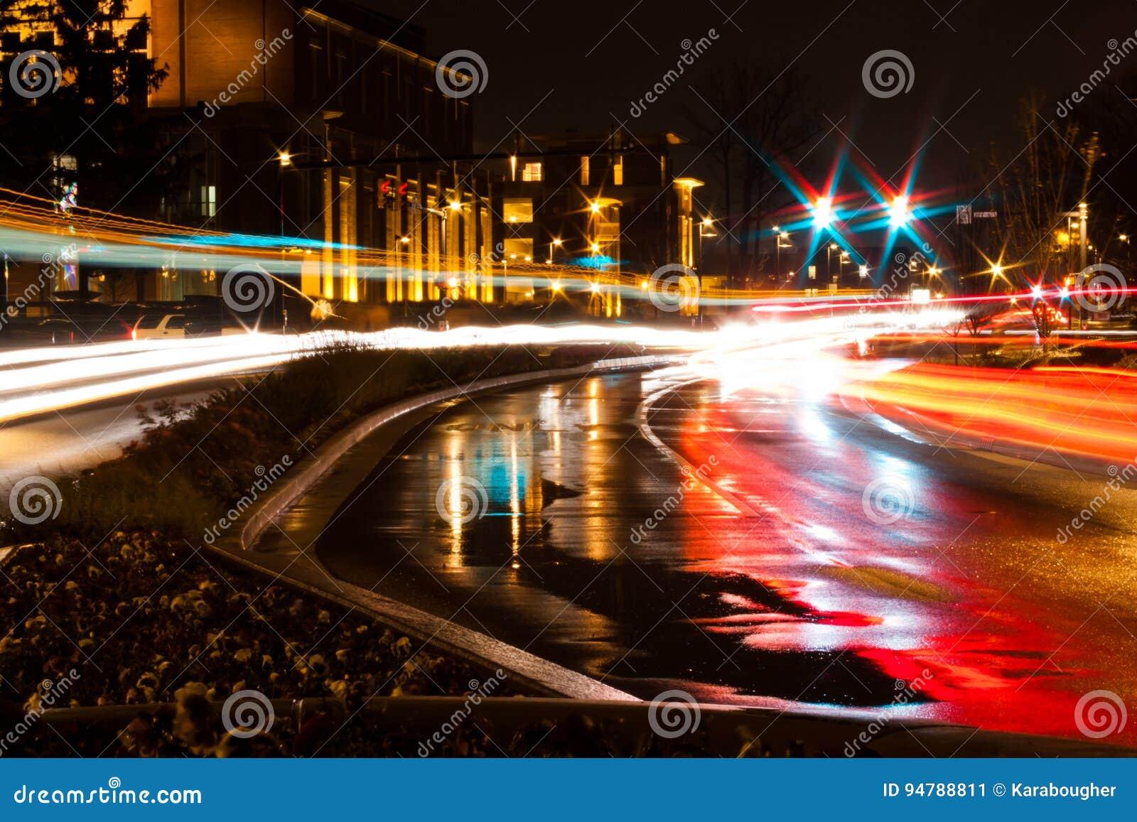 Nachtverkeer bij de Universiteit van de Balstaat