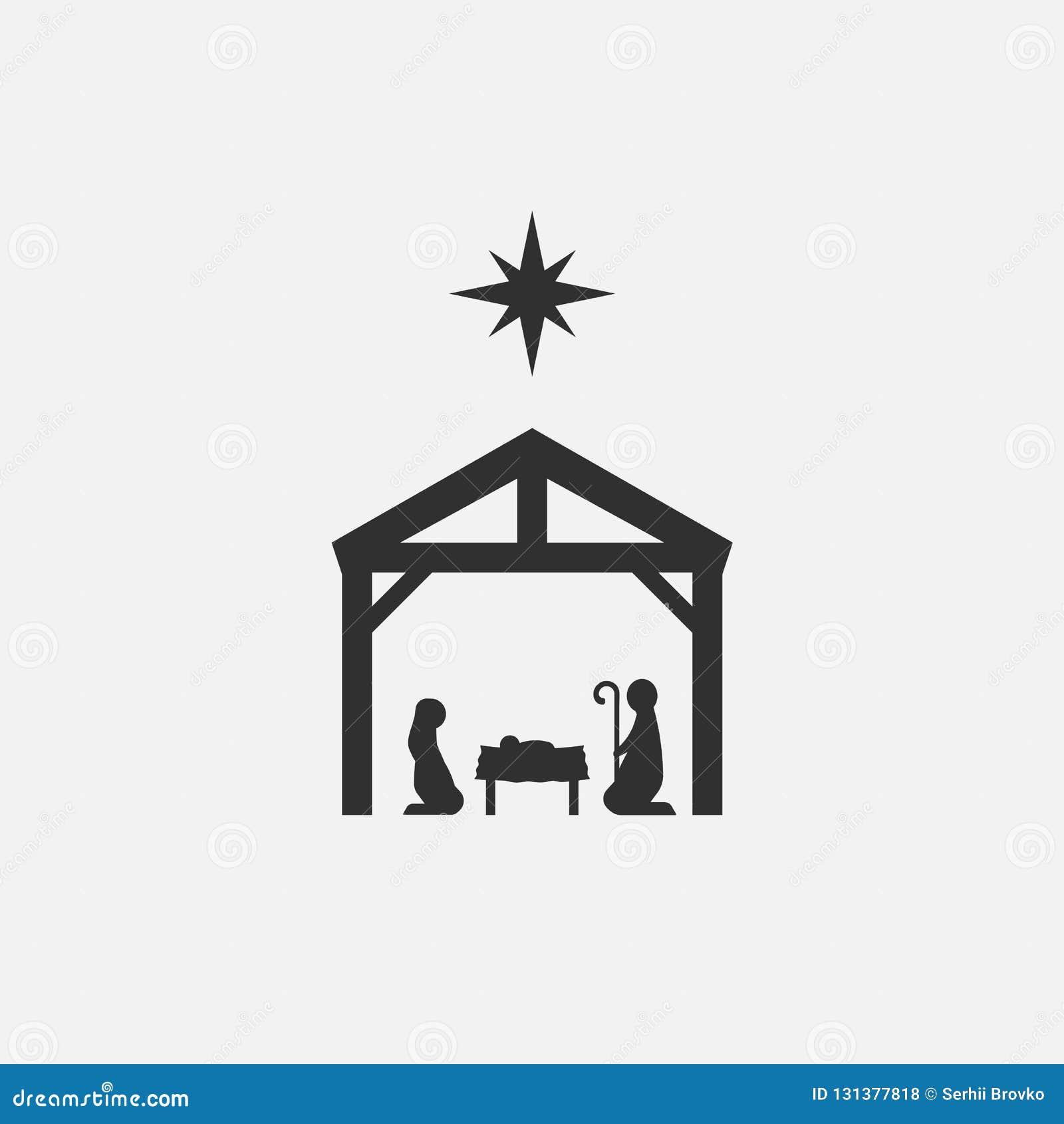 Nacimiento de Cristo, silueta de Maria, de José y de Jesús aislados en el fondo blanco Ilustración del vector