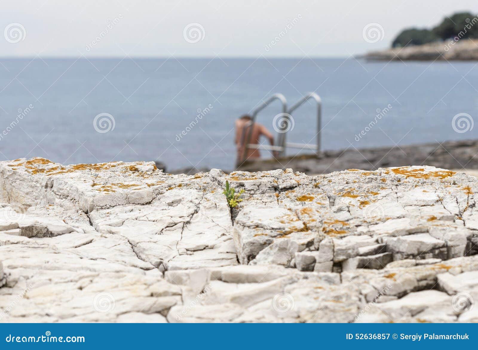 Nackte, Die Im Seefelsigen Strand Mit Leiter Badet Stockbild - Bild von abbildung, strichleiter