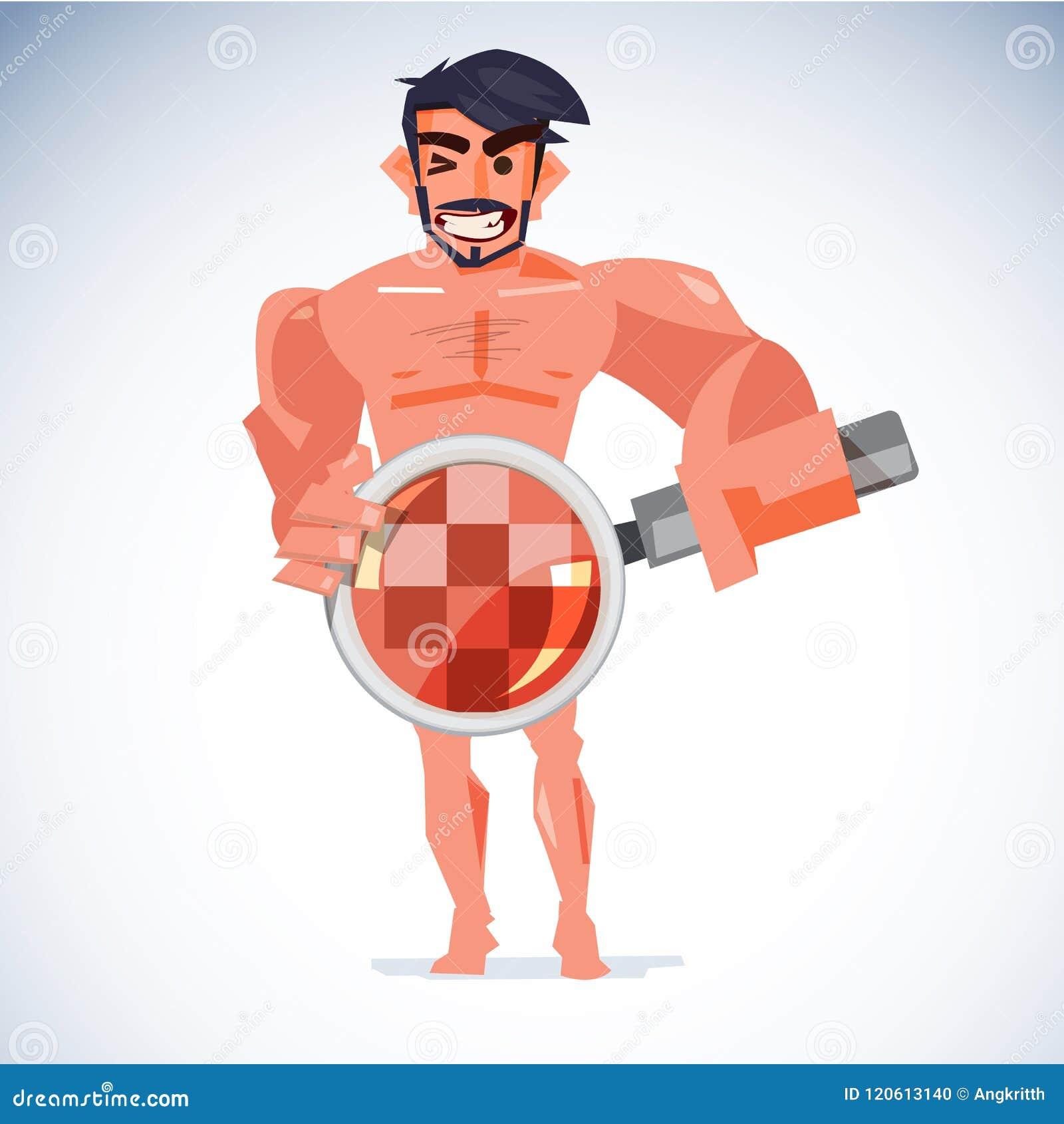 Nackter, der Vergrößerungsglas an seiner Penis mit zensierter Haut behandelt Er