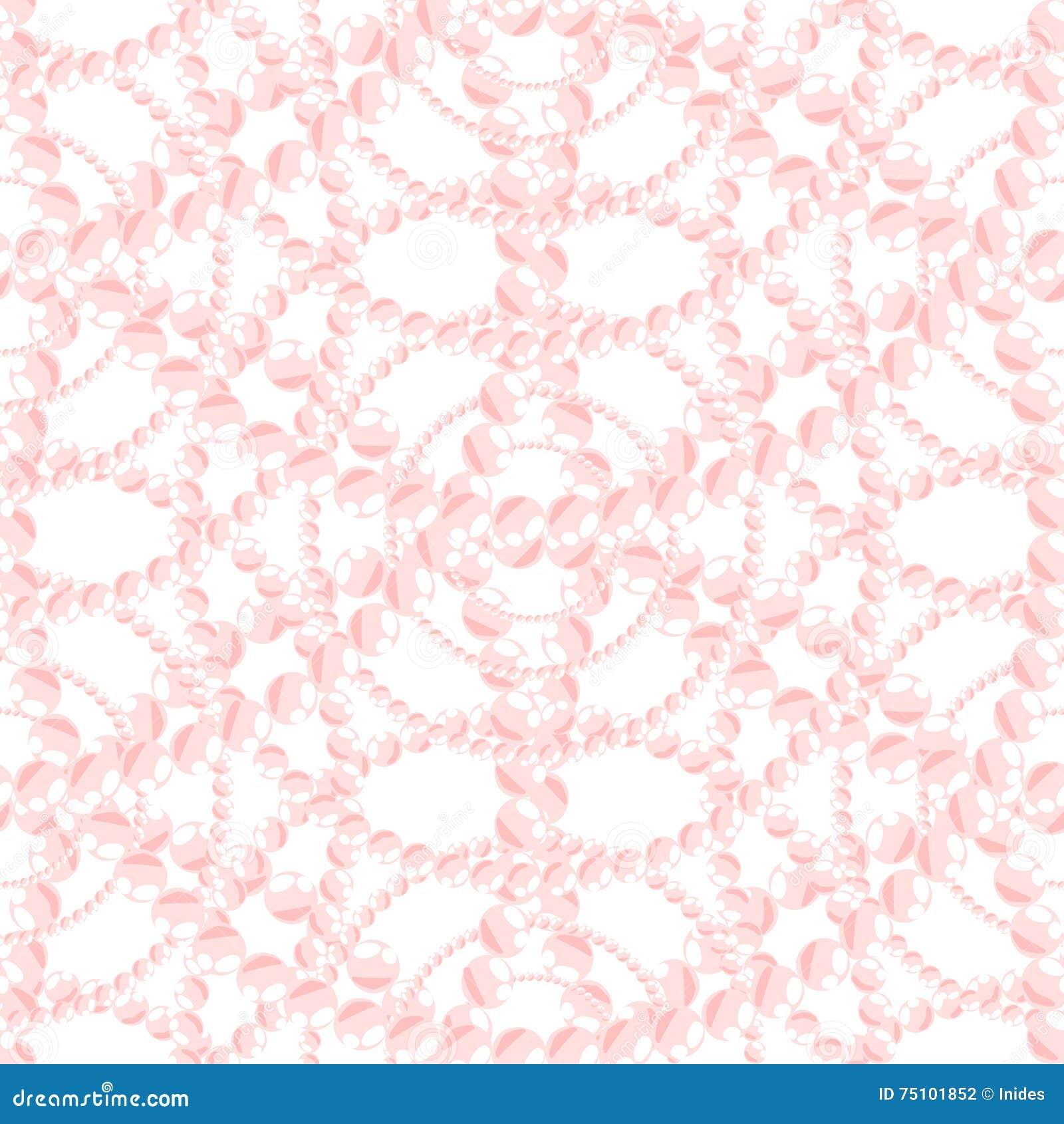 Nacreous pearl pink jewelry seamless pattern.