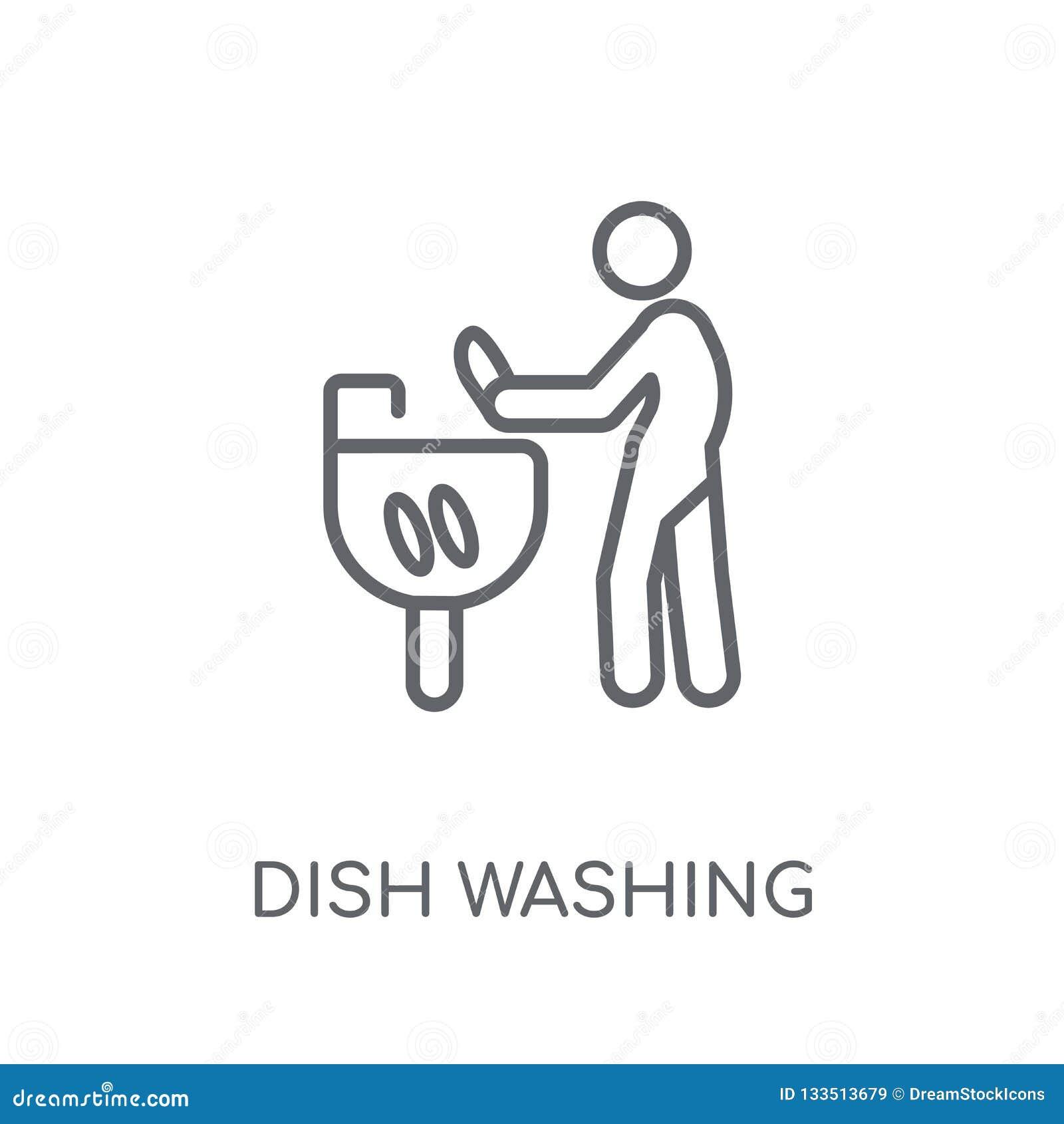 Naczynie Myje liniową ikonę Nowożytnego konturu naczynia logo Płuczkowy conce
