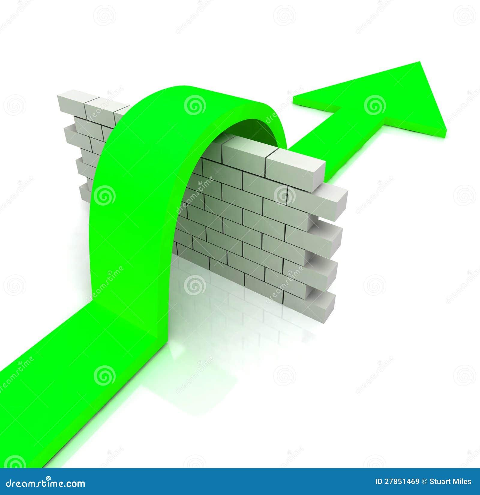 Nad Ściennymi Sposobami zielona Strzała Pokonuje Przeszkody