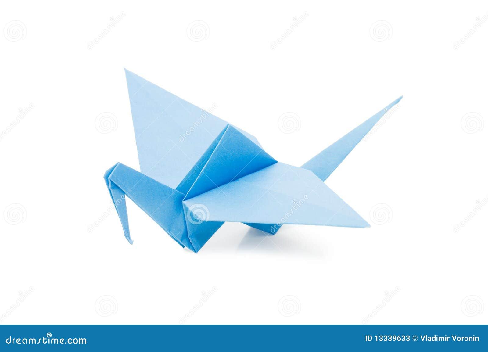 Nad biel odosobniony żurawia origami