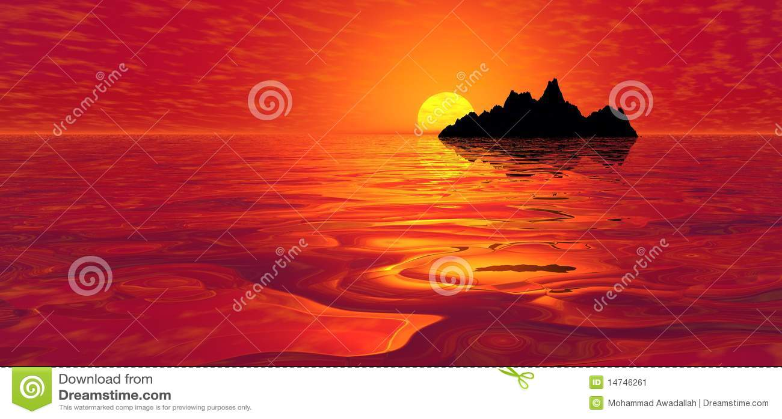 Nad czerwonym zmierzchem wyspa ocean
