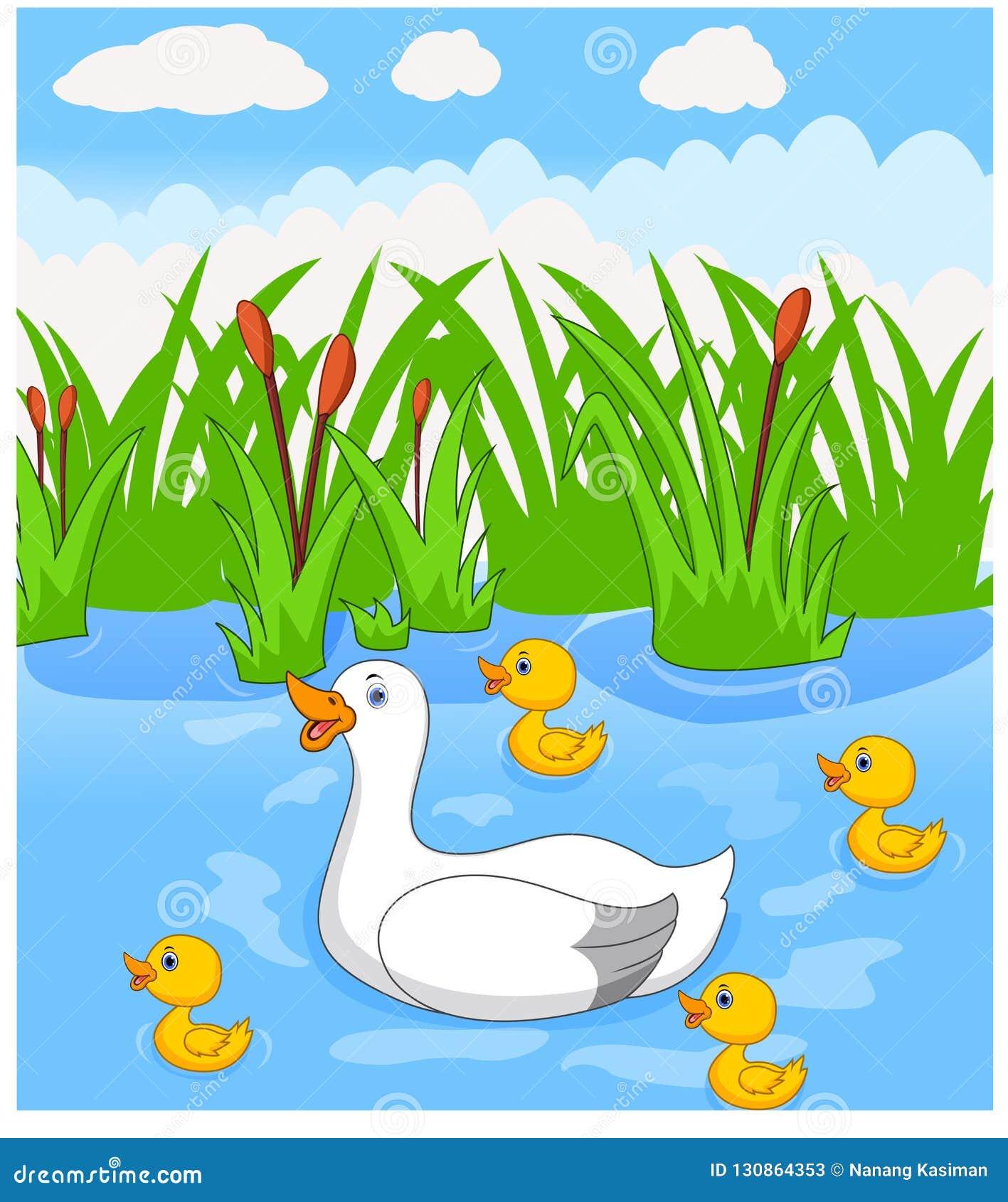 Nadadas dos desenhos animados do pato com seus quatro patinhos bonitos pequenos no rio