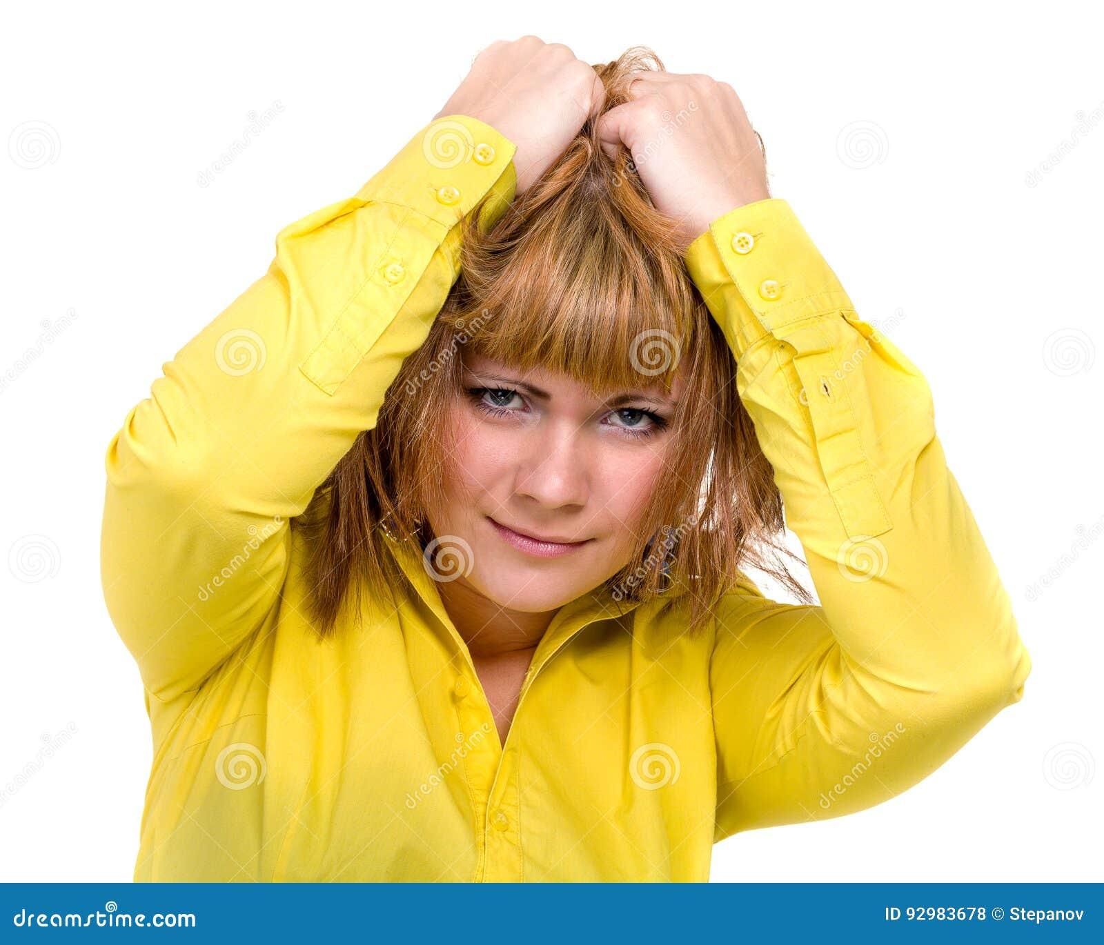 Nadenkend bedrijfsdievrouwenportret over een wit wordt geïsoleerd