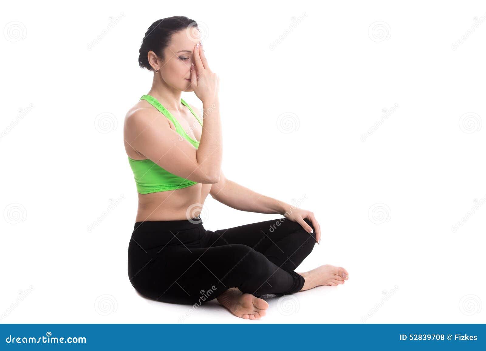 Nadi Shodhana Pranayama In Yoga Easy Pose Stock Photo