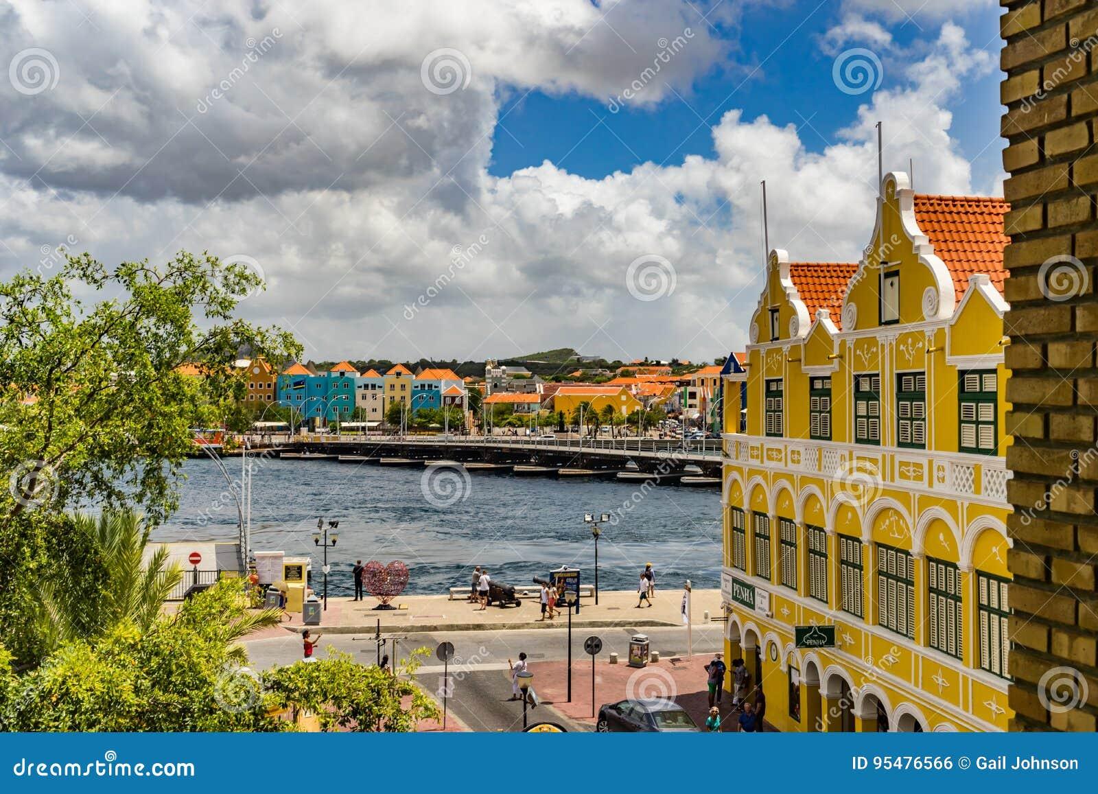 Nadokienny widoku puszek Punda nabrzeża Curacao widoki
