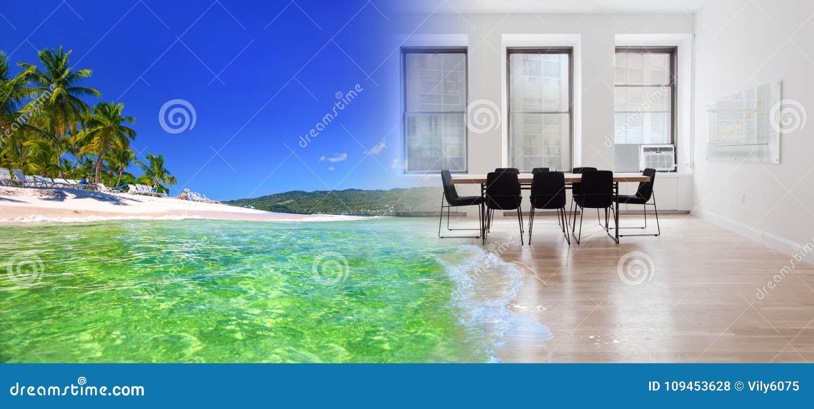 Nadrealistyczny kolaż tropikalna powierzchnia biurowa i morze