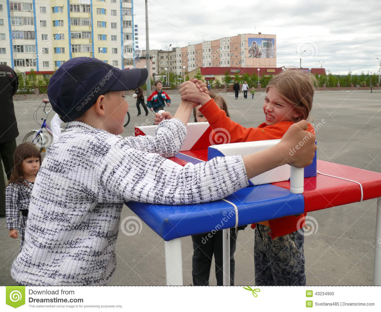 Nadym, Russia - June 28, 2008: Competitions on arm-wrestling. St