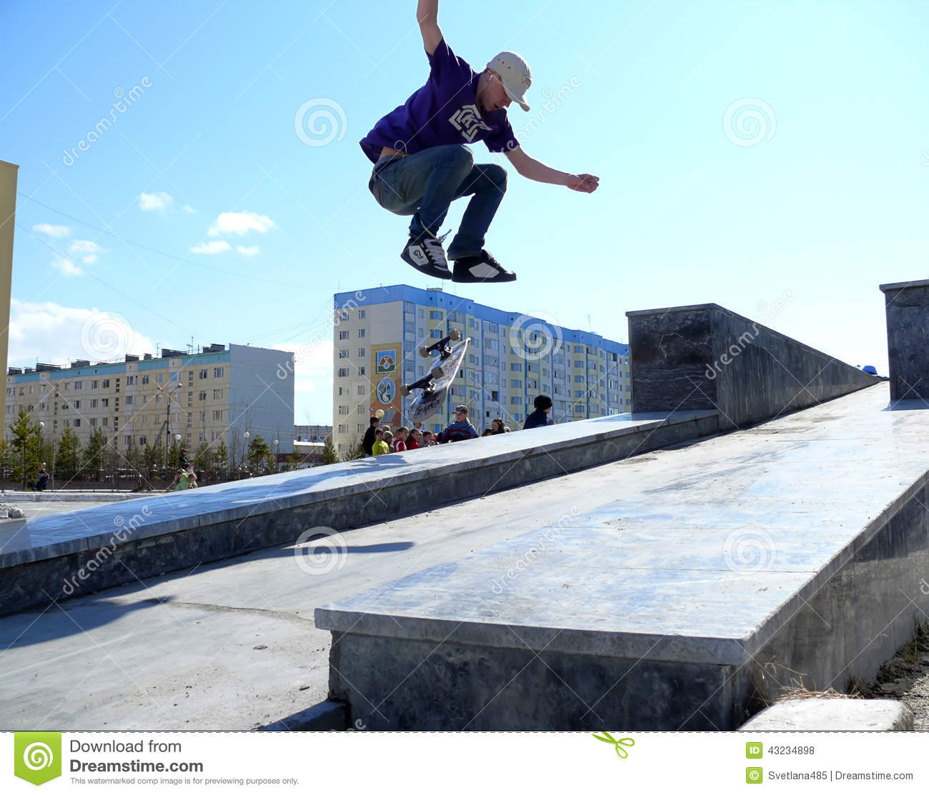 Nadym, Russia - May 17, 2008: Jumping on Board with a springboar