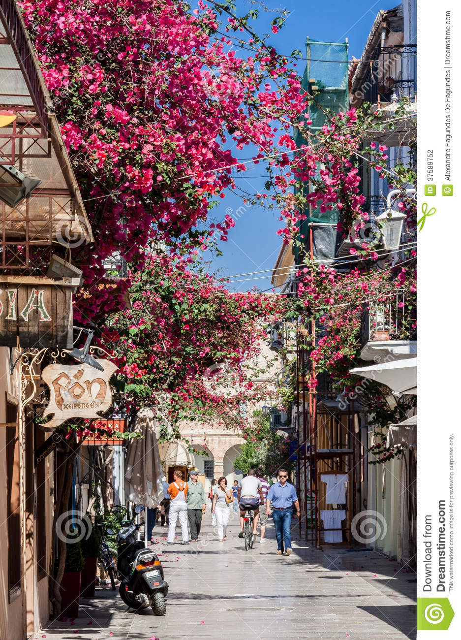 Nafplio Blooming Street Greece Editorial Photography - Image of ...