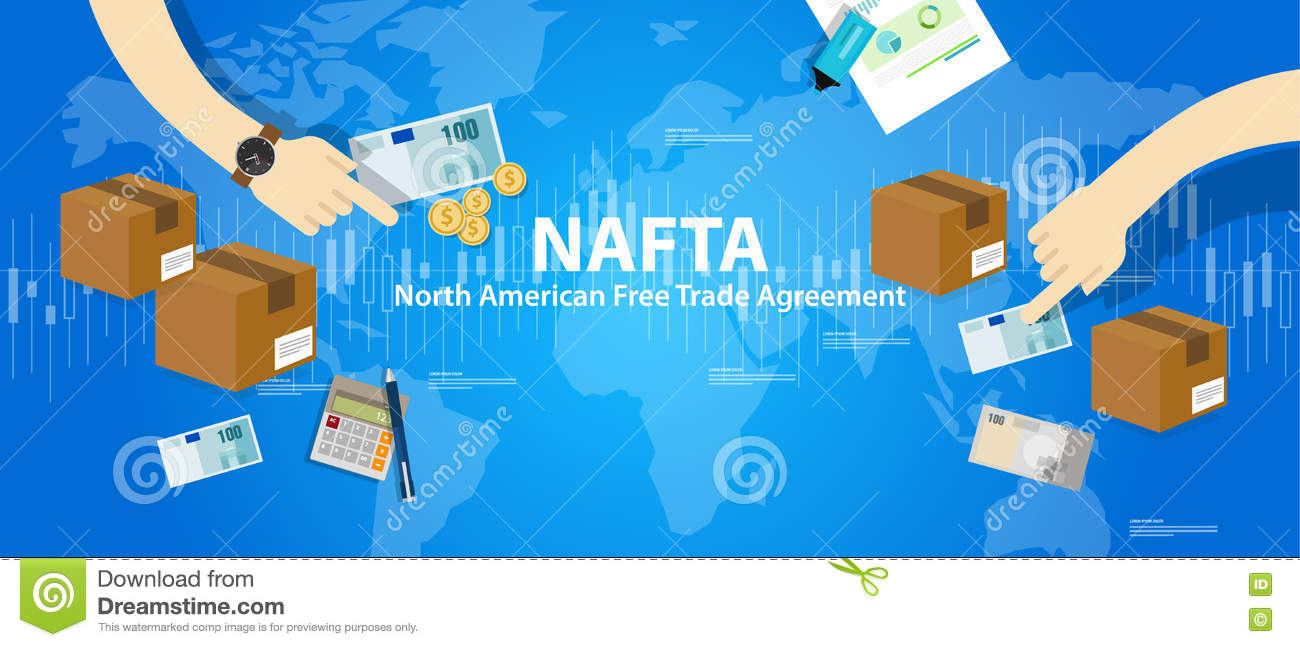 Nafta North American Free Trade Agreement Stock Vector