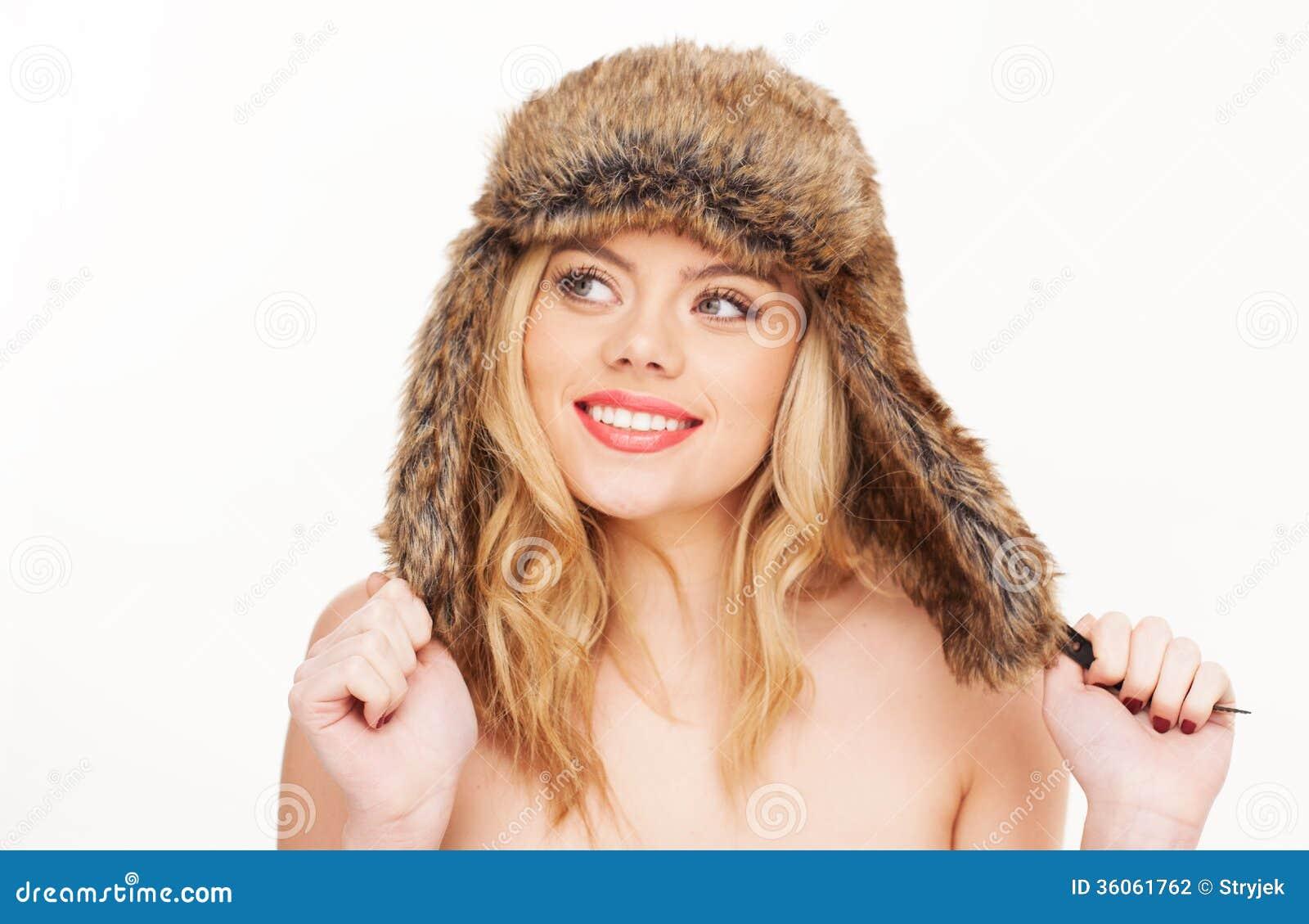 Naga Blondynki Kobieta W Futerkowym Kapeluszu Zdjęcie