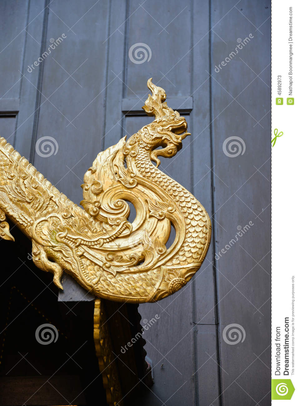 Naga Wood Craving Decoration On Gable Of Thai Temple Stock Image ...