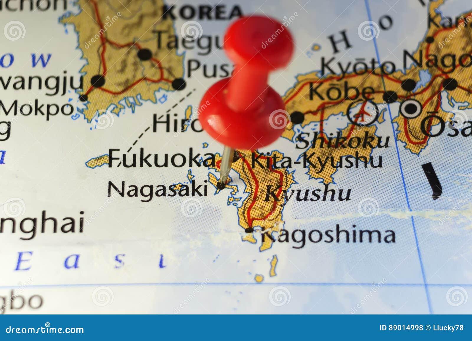 Nagasaki, Japan pinned map