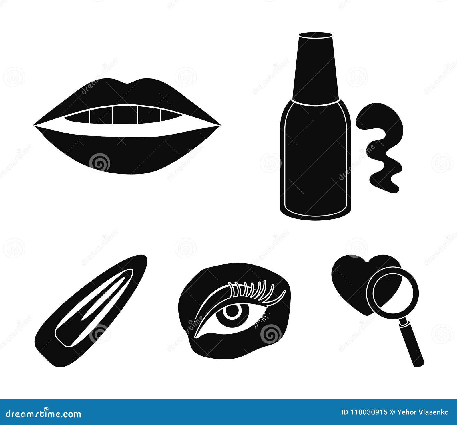 Nagellak, gekleurde wimpers, lippen met lippenstift, haarklem Pictogrammen van de make-up de vastgestelde inzameling in zwart sti