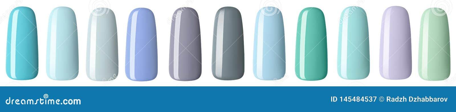 Nagellak in verschillende manierpastelkleur De kleurrijke spijkerlak in uiteinden isoleerde witte achtergrond