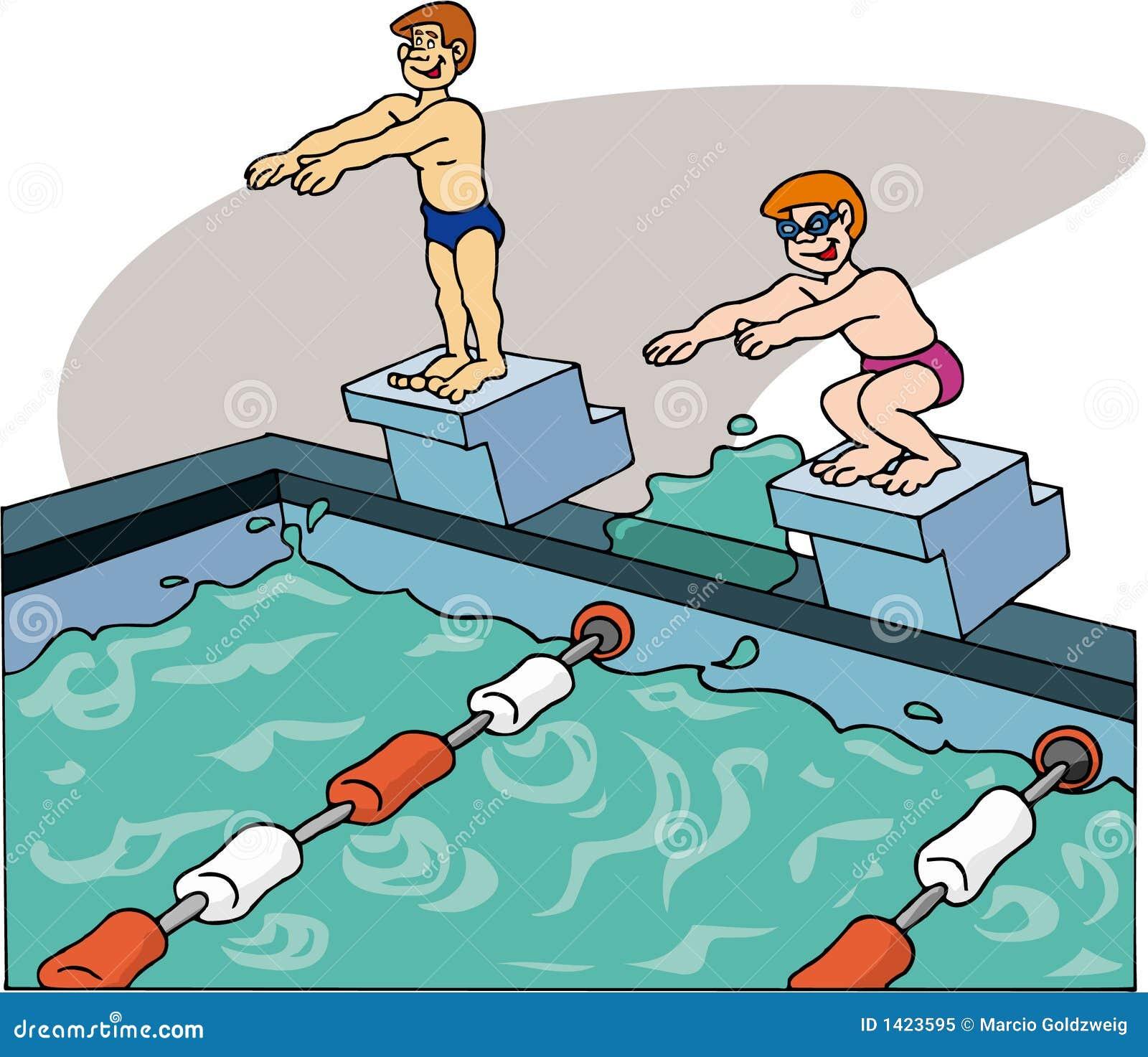 Nageurs nageant photo libre de droits image 1423595 for A la piscine dessin