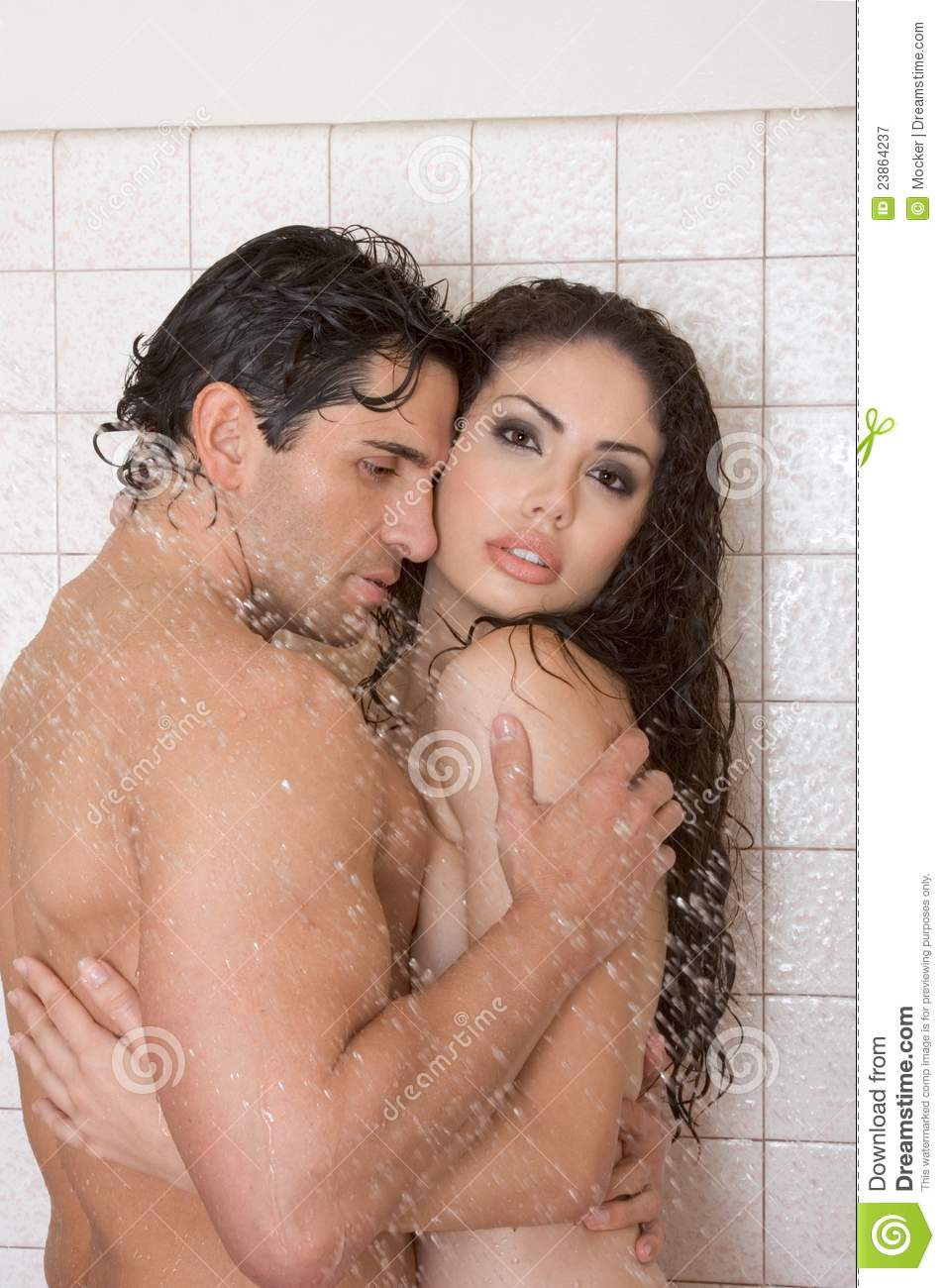 Man and woman shower together naked long legs!
