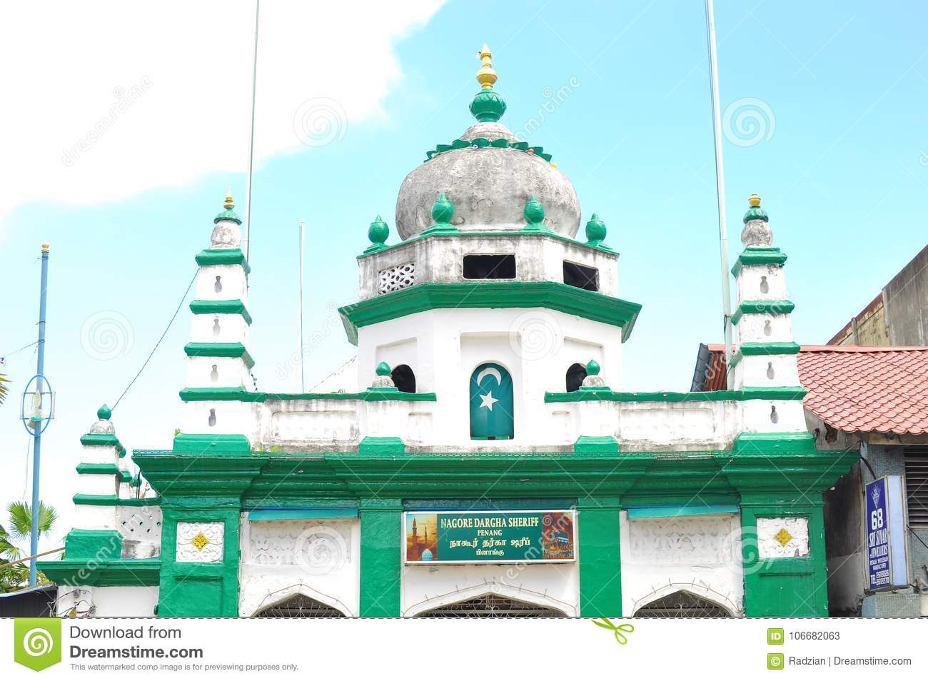 The Nagore Dargha Sheriff Mosque In George Town In Penang Island ...