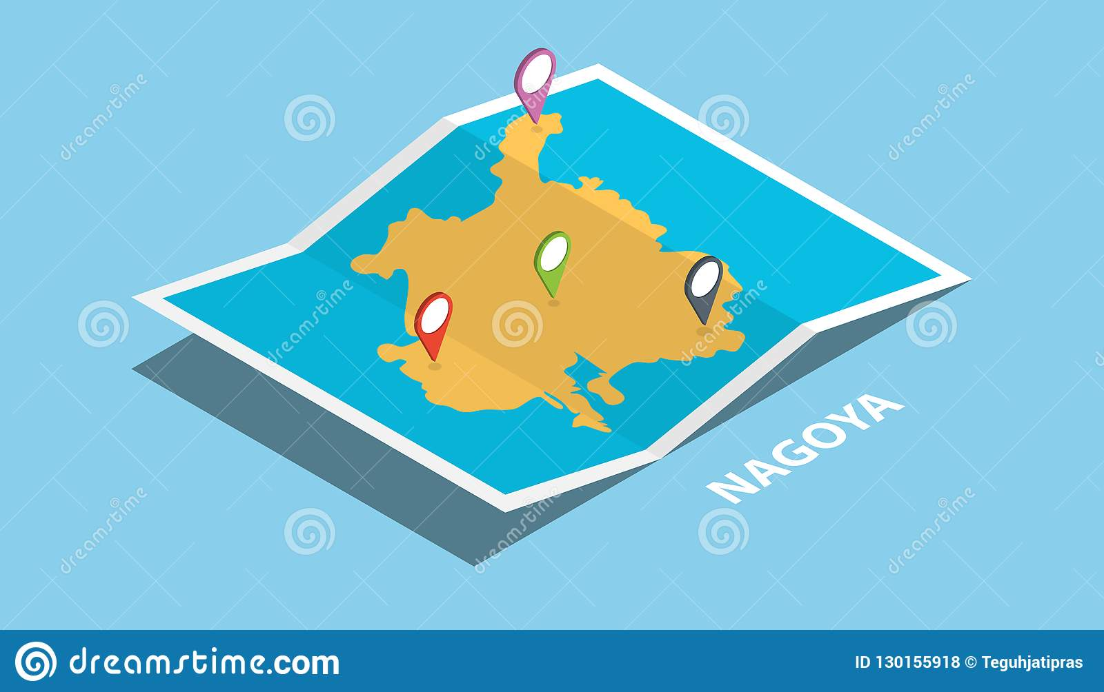Nagoya Twin Town Japan Explore Maps With Isometric Style And Pin ...
