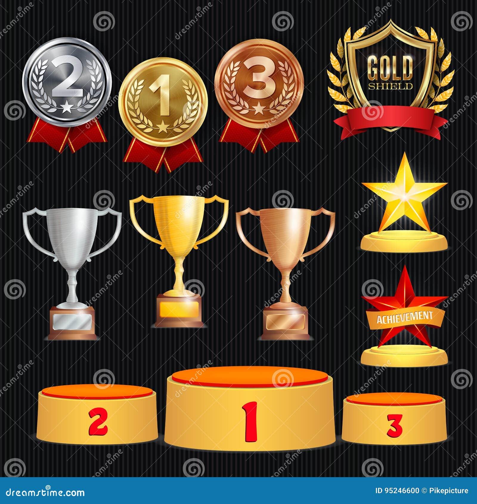 Nagród trofeów wektoru set Osiągnięcie Dla 1st, 2nd, 3rd miejsce Zalicza się Ceremonii plasowania podium Złoty, srebny, brąz