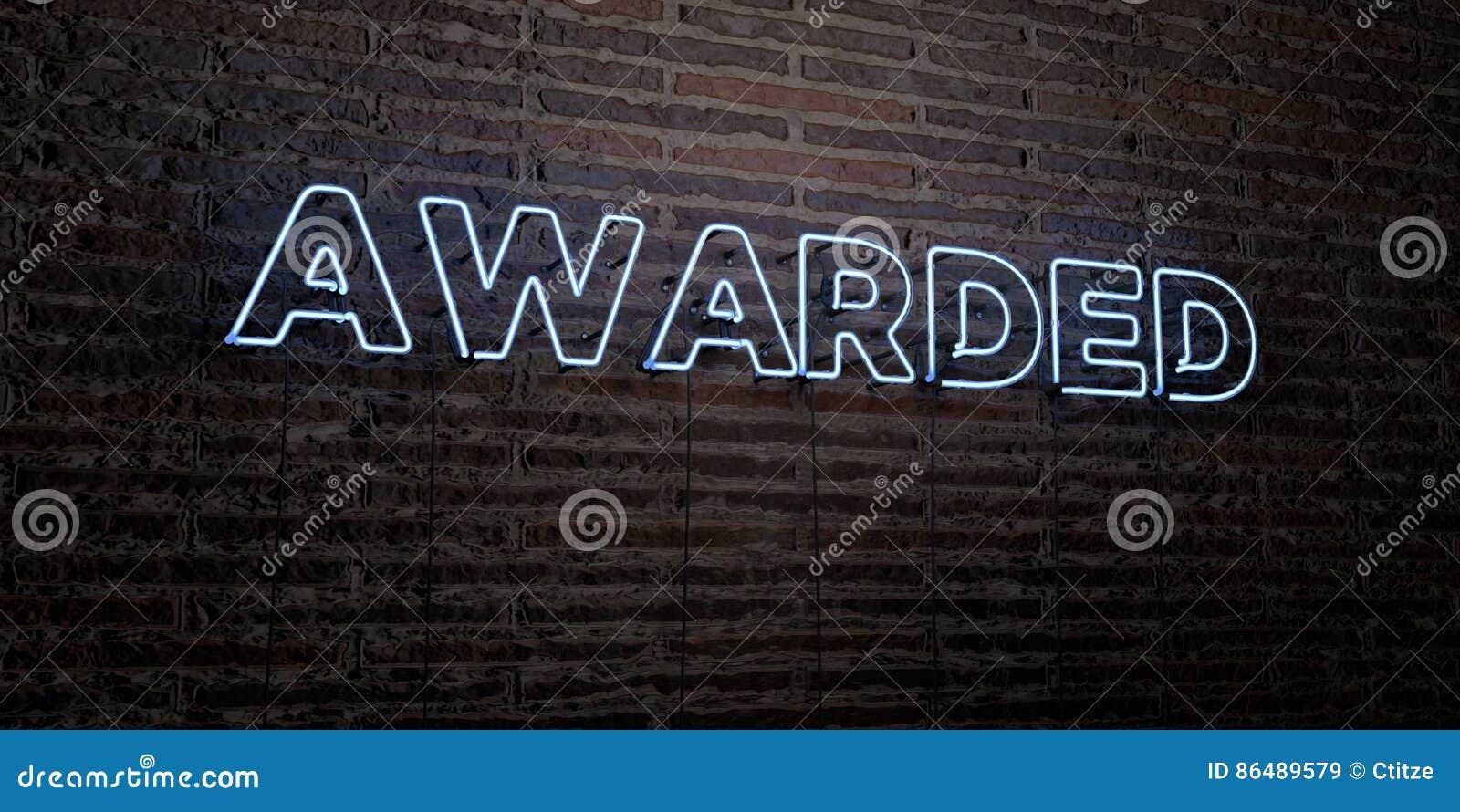 NAGRADZAJĄCY - Realistyczny Neonowy znak na ściana z cegieł tle - 3D odpłacający się królewskość bezpłatny akcyjny wizerunek