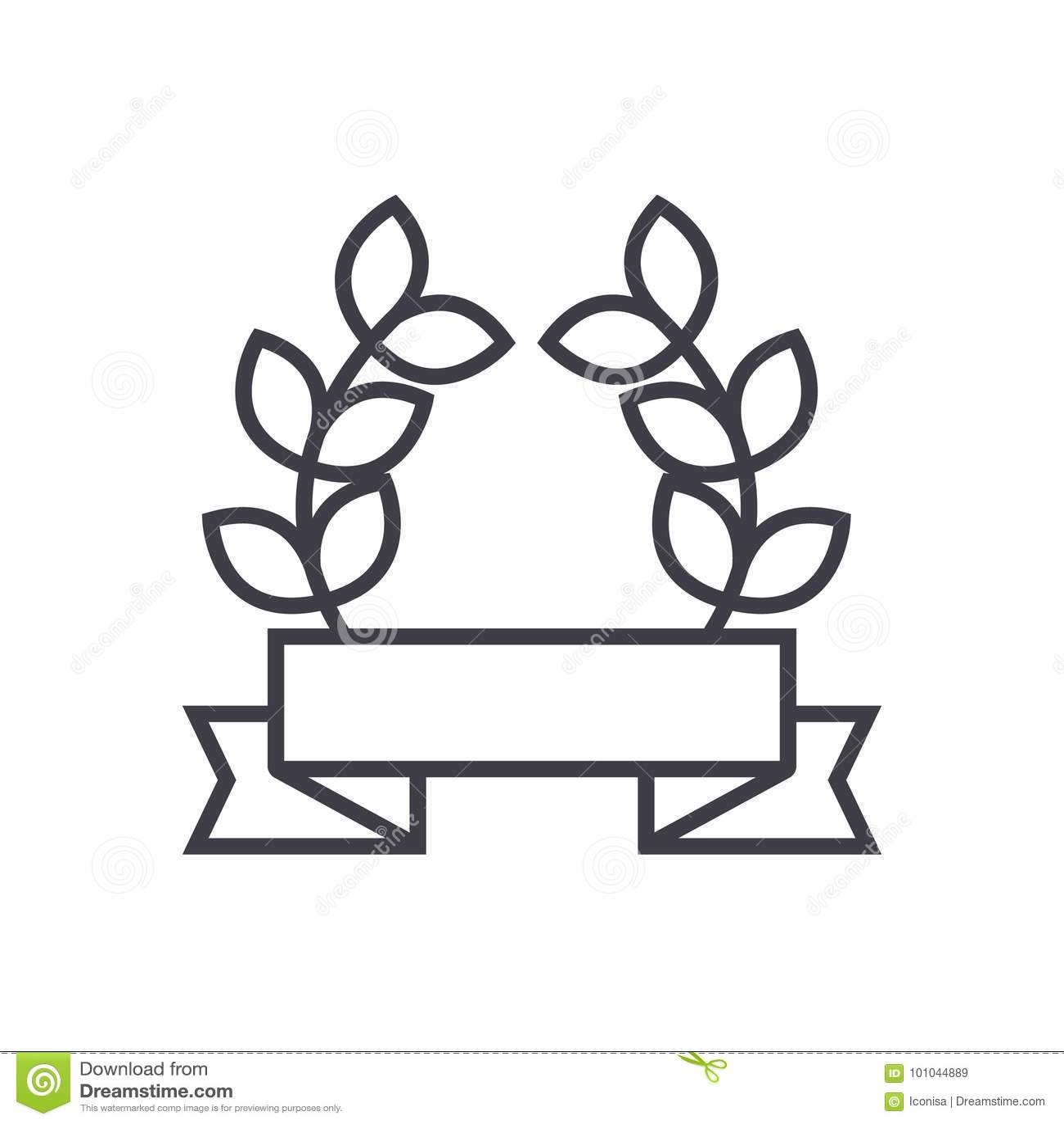 Nagroda faborek z liścia wektoru linii ikoną, znak, ilustracja na tle, editable uderzenia