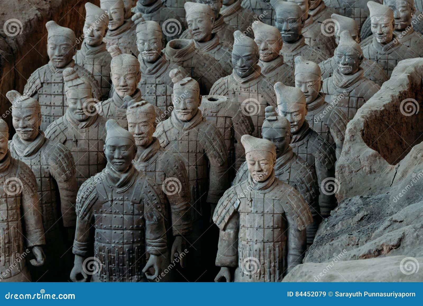 Nahaufnahme der berühmten Terrakotta-Armee der Krieger in Xian, China