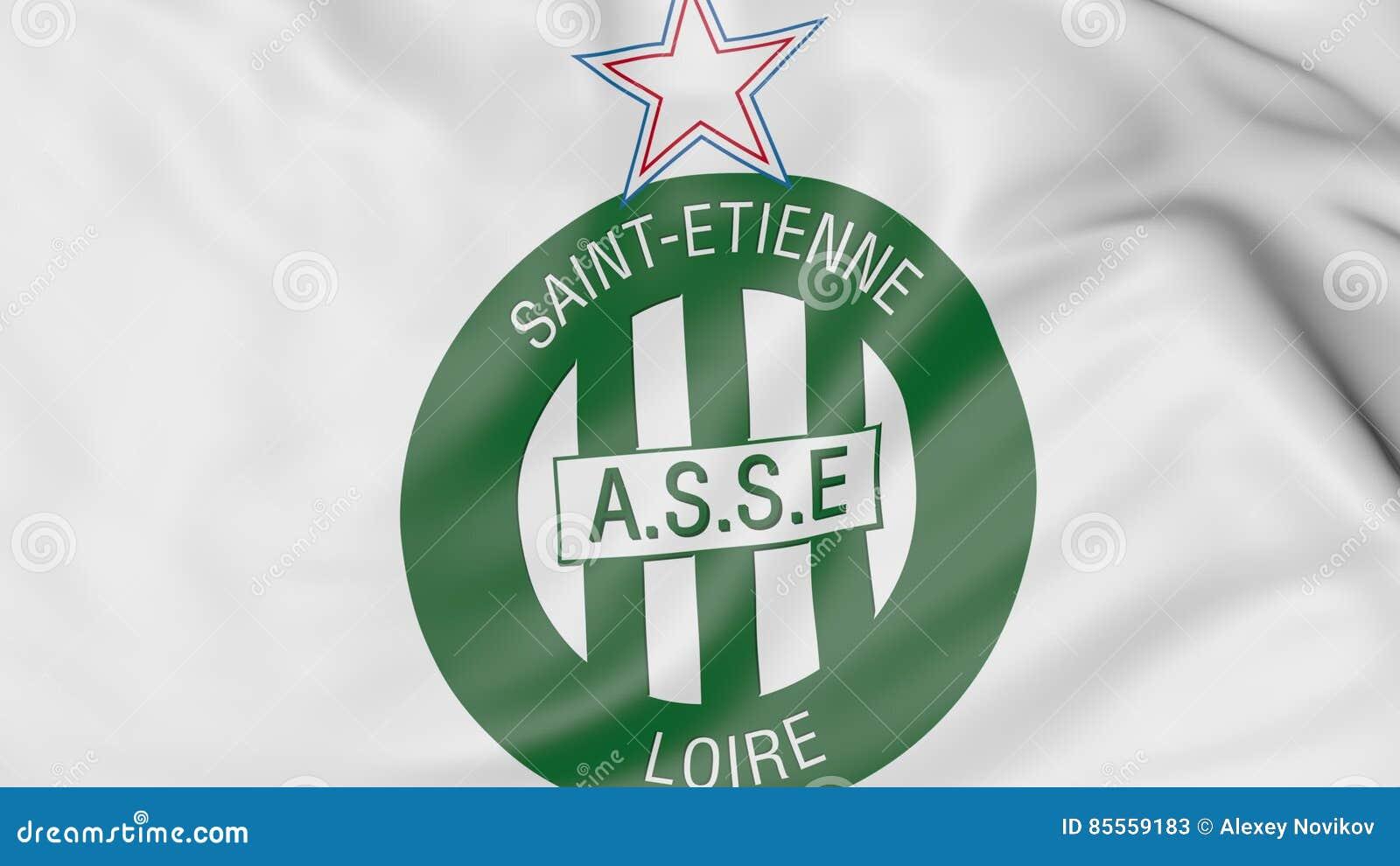 Nahaufnahme der wellenartig bewegenden Flagge mit ALS St.- Etiennefußballvereinlogo, Wiedergabe 3D