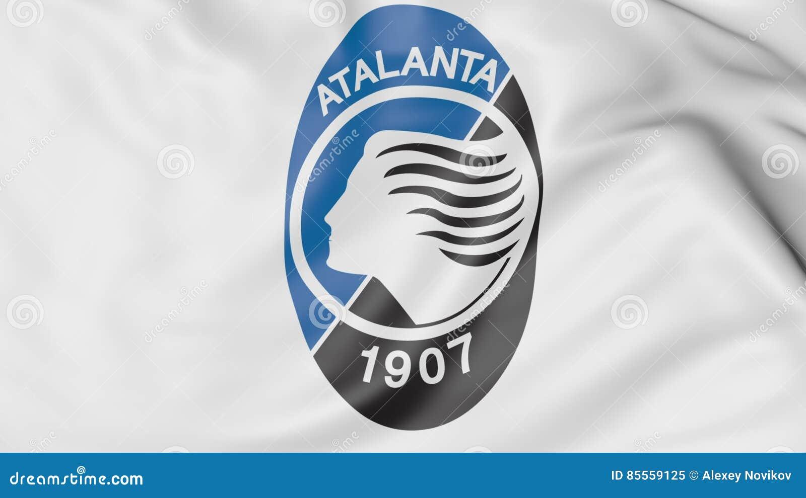 Nahaufnahme der wellenartig bewegenden Flagge mit Atalanta-Fußball-Vereinlogo, Wiedergabe 3D