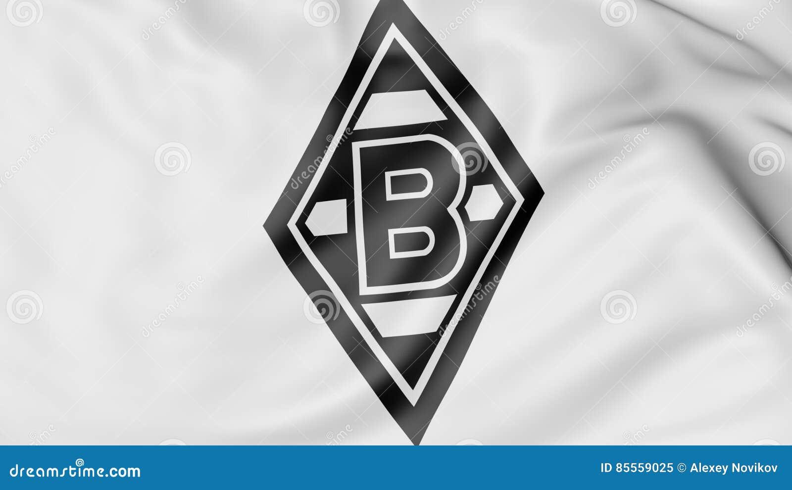 Nahaufnahme der wellenartig bewegenden Flagge mit Borussia Monchengladbach Fußball-Vereinlogo, Wiedergabe 3D