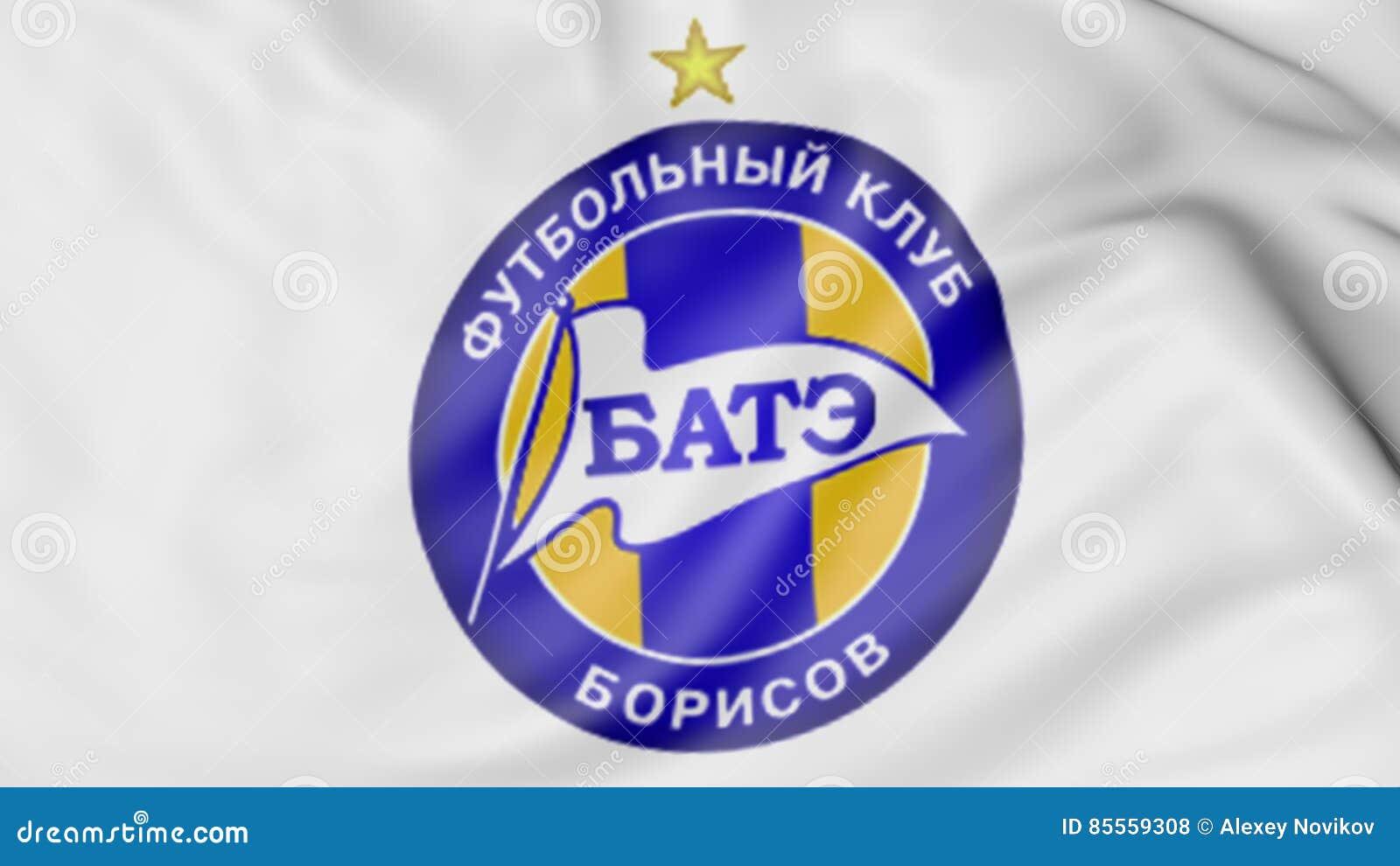 Nahaufnahme der wellenartig bewegenden Flagge mit FC BATE Borissow-Fußballvereinlogo, Wiedergabe 3D