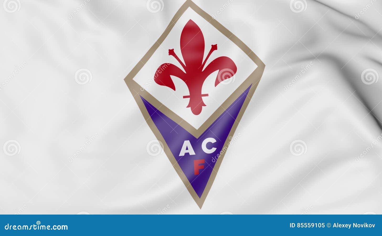 Nahaufnahme der wellenartig bewegenden Flagge mit Fiorentina-Fußball-Vereinlogo, Wiedergabe 3D