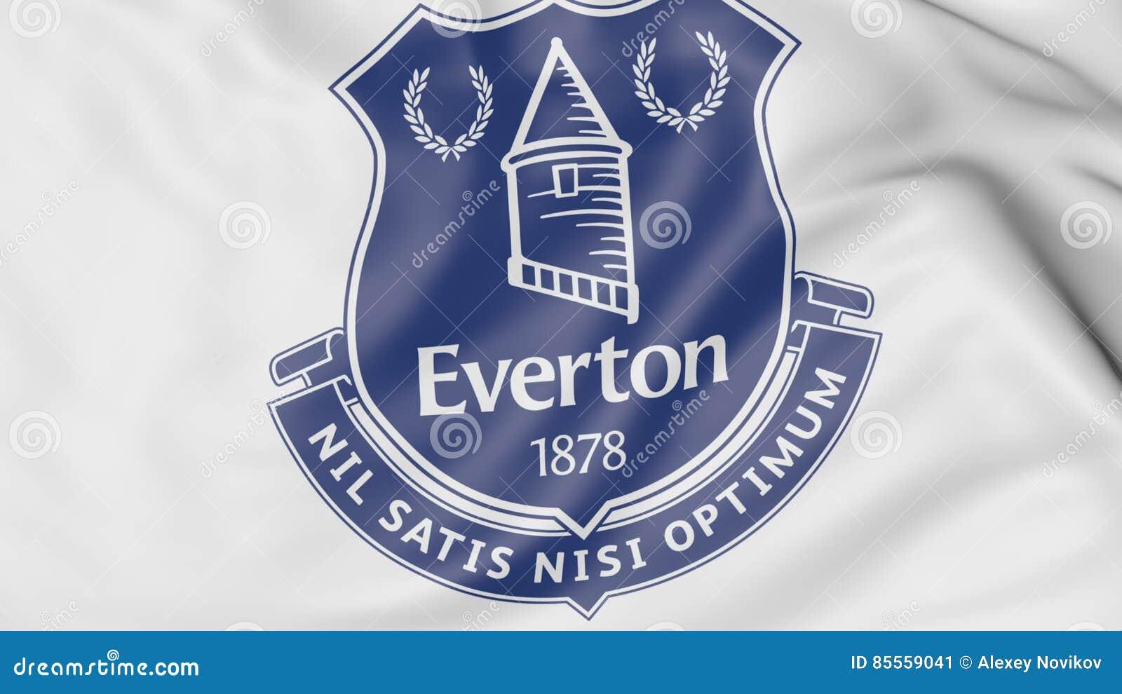 Nahaufnahme der wellenartig bewegenden Flagge mit Fußball-Vereinlogo Everton FC, Wiedergabe 3D