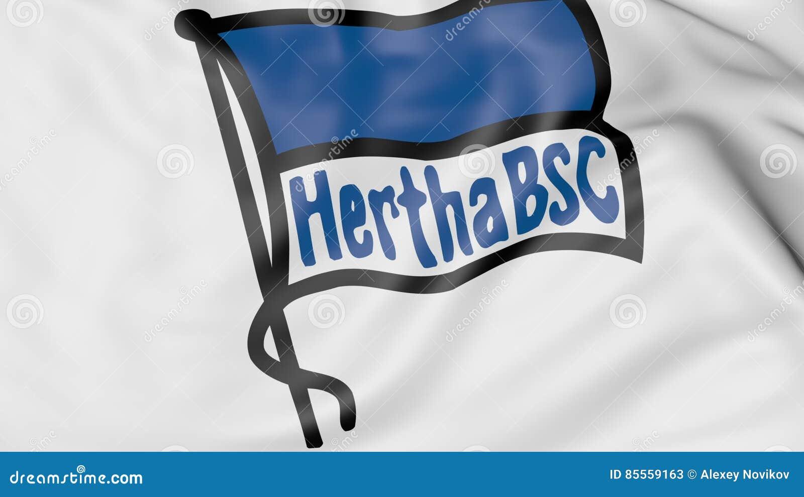 Nahaufnahme der wellenartig bewegenden Flagge mit Fußball-Vereinlogo Hertha BSC, Wiedergabe 3D