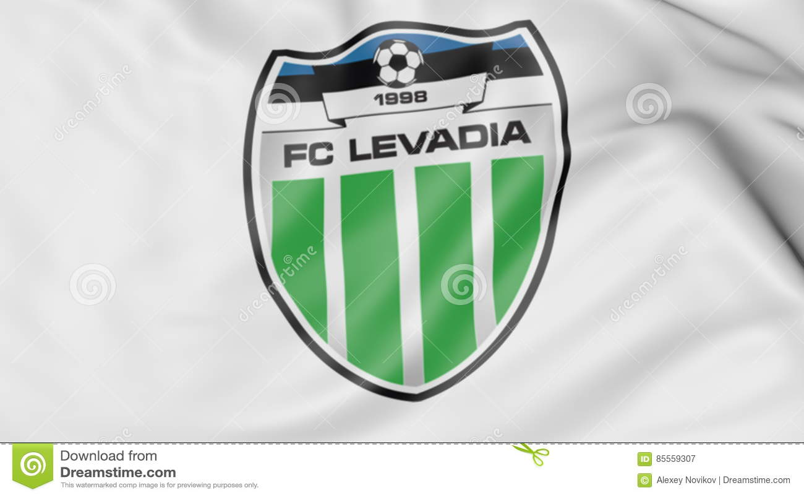 Nahaufnahme der wellenartig bewegenden Flagge mit Fußball-Vereinlogo Levadia Tallinn, Wiedergabe 3D