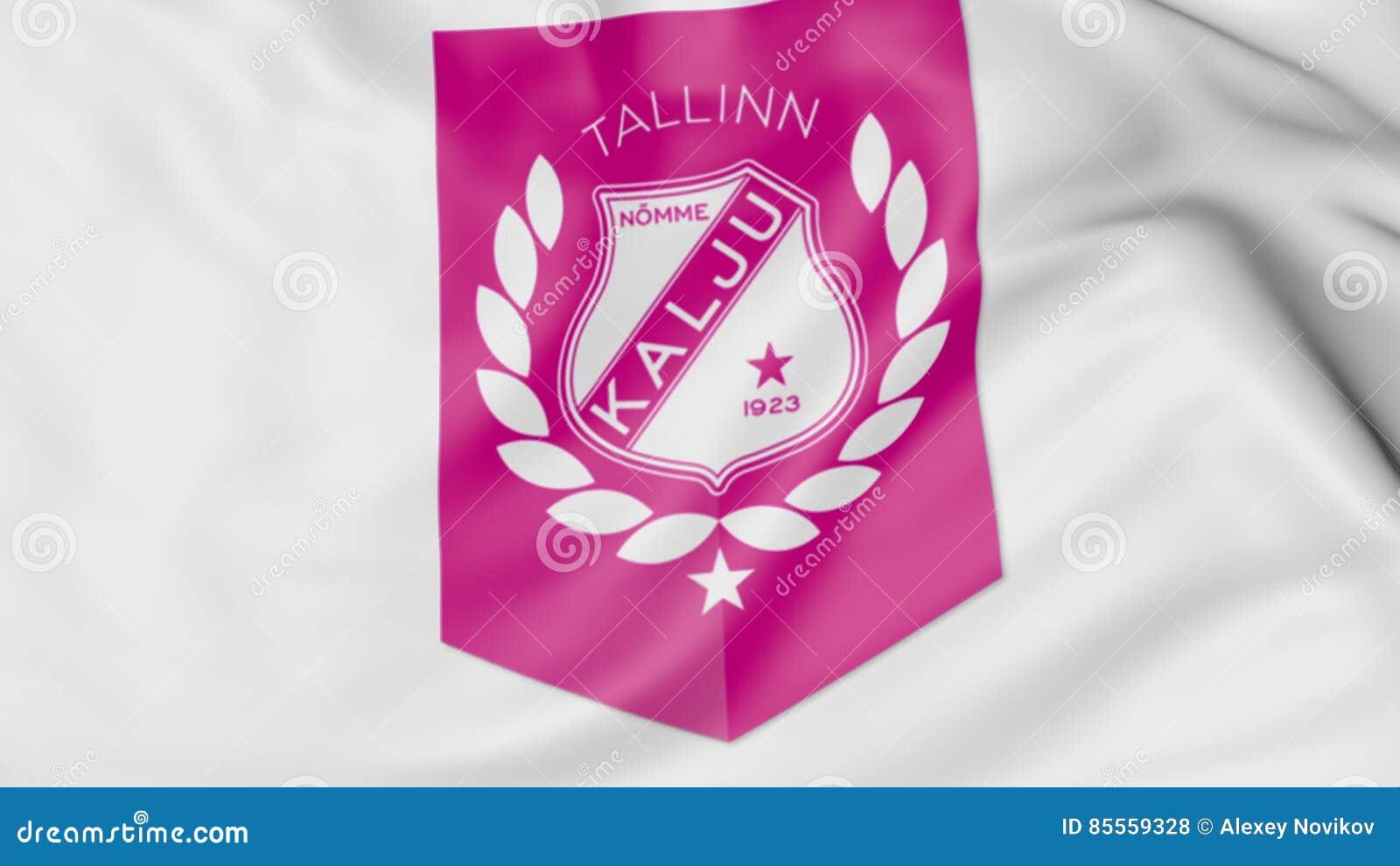 Nahaufnahme der wellenartig bewegenden Flagge mit Fußball-Vereinlogo Nomme Kalju FC, Wiedergabe 3D