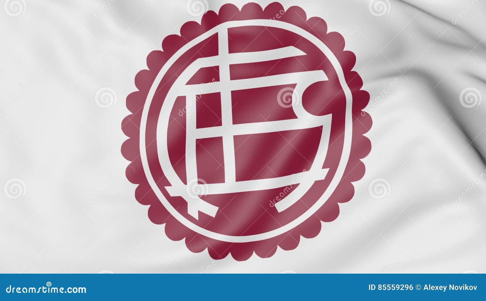 Nahaufnahme der wellenartig bewegenden Flagge mit Fußball-Vereinlogo Verein Atletico Lanus, Wiedergabe 3D