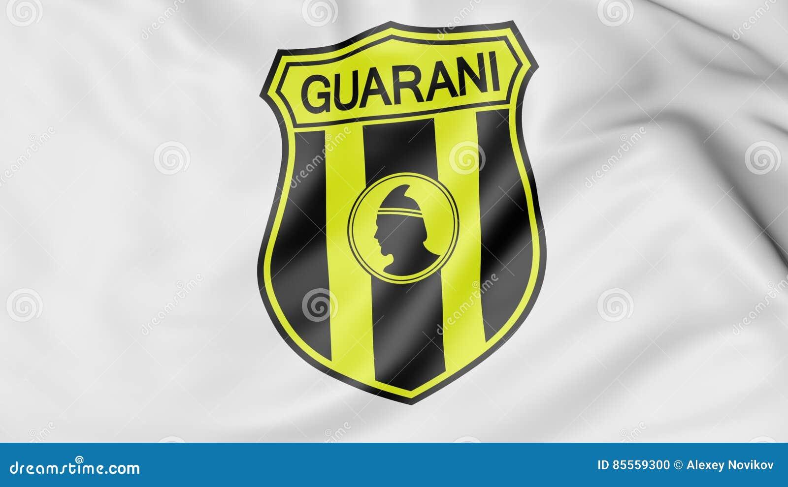 Nahaufnahme der wellenartig bewegenden Flagge mit Guarani-Fußballvereinlogo, Wiedergabe 3D