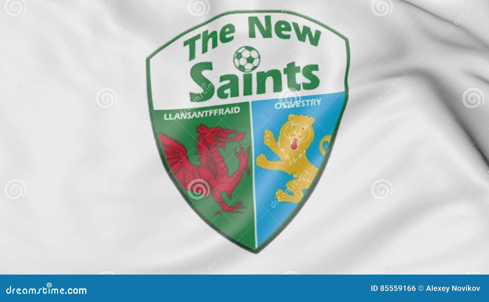 Nahaufnahme der wellenartig bewegenden Flagge mit The New Saints-Fußball-Vereinlogo, Wiedergabe 3D