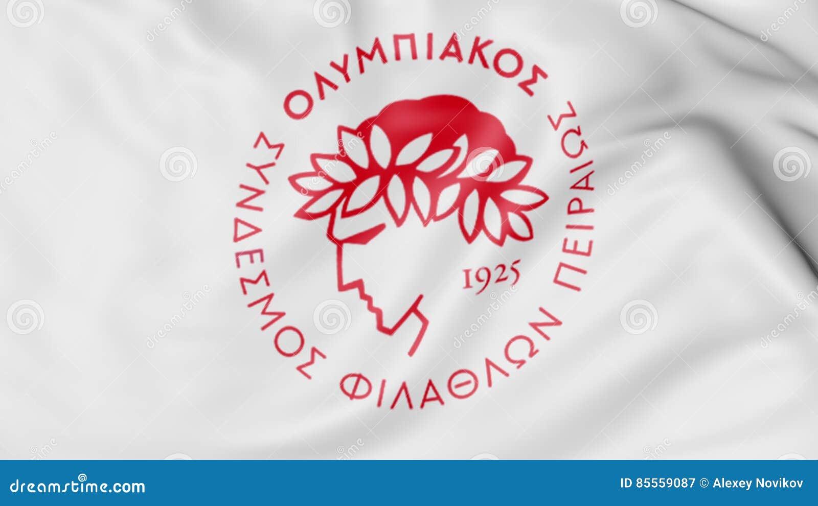 Nahaufnahme der wellenartig bewegenden Flagge mit Olympiakos-Fußball-Vereinlogo, Wiedergabe 3D