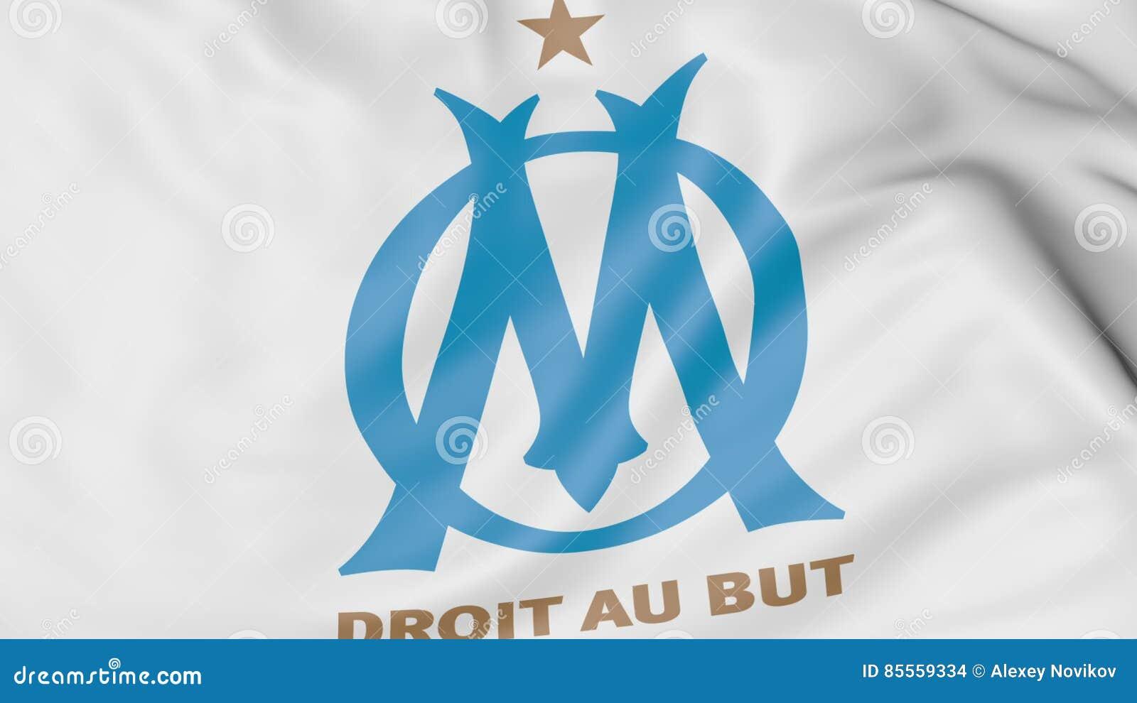 Nahaufnahme der wellenartig bewegenden Flagge mit Olympique de Marseille -Fußballvereinlogo, Wiedergabe 3D