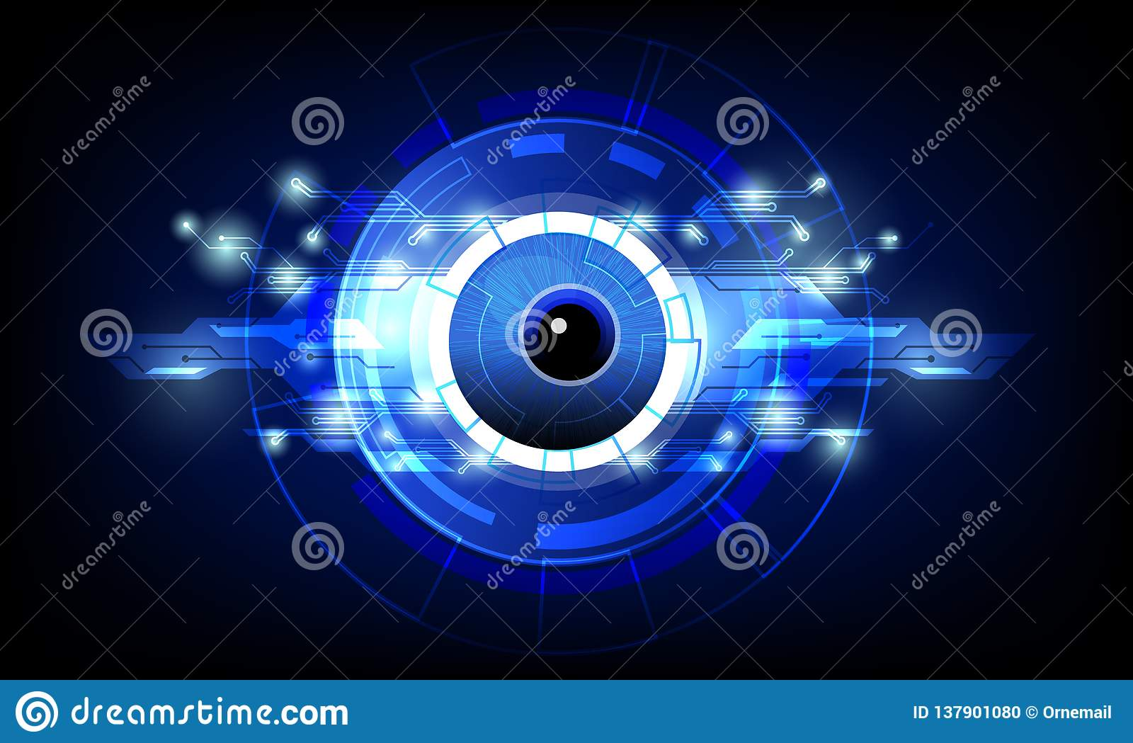 Nahaufnahme des Auges mit dunkelblauem High-Techem Hintergrund der abstrakten Konzeptvektor-Illustration der Technologiestromkrei